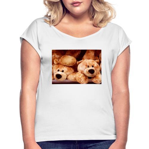 Glücksbären - Frauen T-Shirt mit gerollten Ärmeln