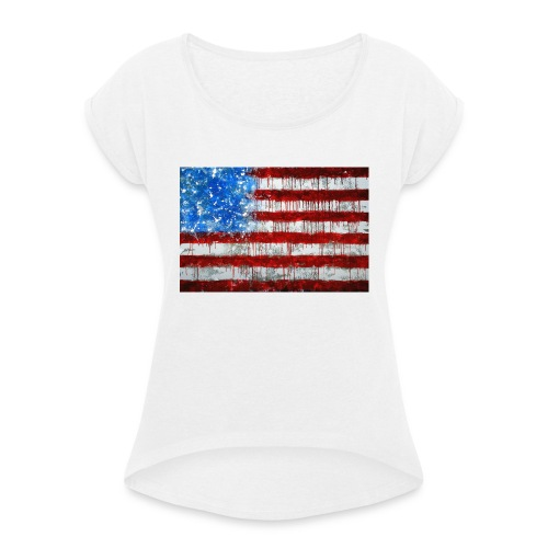 USA - Camiseta con manga enrollada mujer