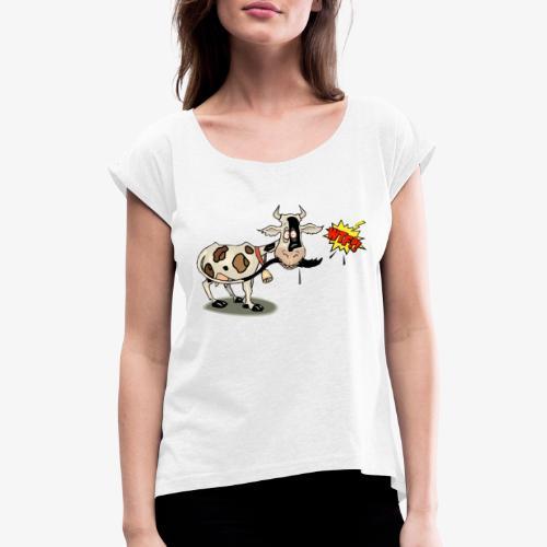 Vaquita - Camiseta con manga enrollada mujer