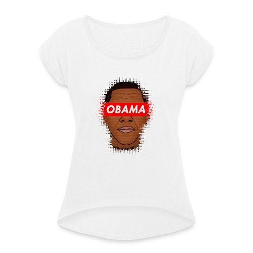 obama distorted - Camiseta con manga enrollada mujer