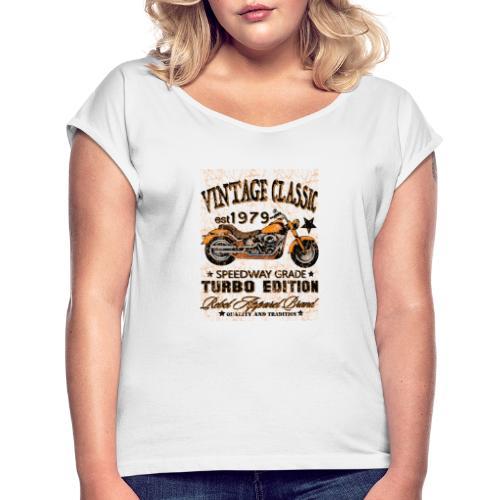 vintage classic - T-shirt med upprullade ärmar dam