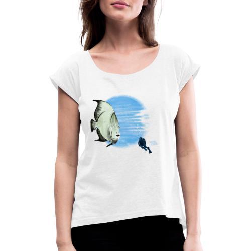 Selfie fish - T-shirt à manches retroussées Femme