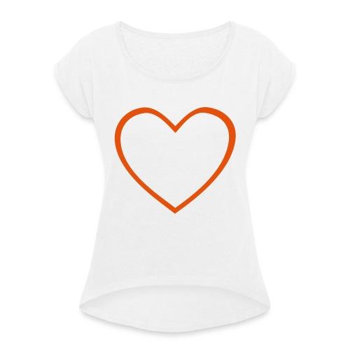 Hjärta 4 - T-shirt med upprullade ärmar dam