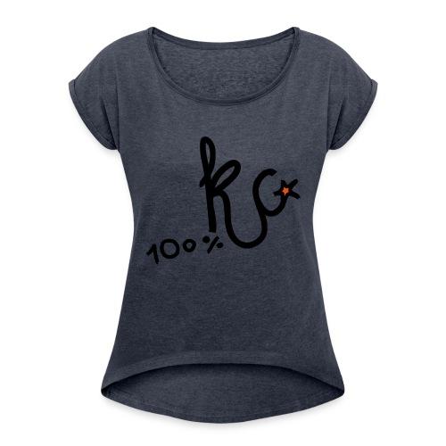 100%KC - Vrouwen T-shirt met opgerolde mouwen