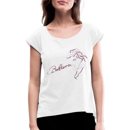 Beethoven (augerbine/rosa) - Frauen T-Shirt mit gerollten Ärmeln