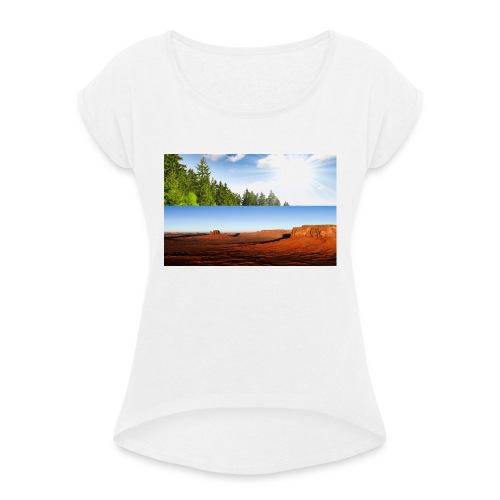 free world - Frauen T-Shirt mit gerollten Ärmeln