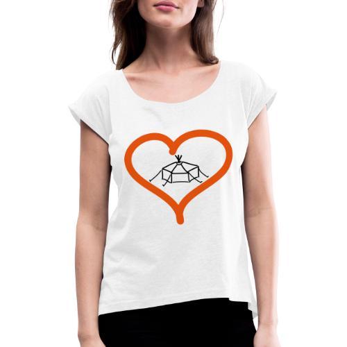 Herzjurte - Frauen T-Shirt mit gerollten Ärmeln