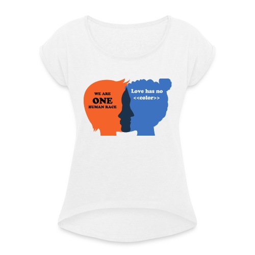 2 joined heads, Köpfe die sich anblicken - Frauen T-Shirt mit gerollten Ärmeln