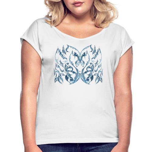 Blaue Tintenspitze - Frauen T-Shirt mit gerollten Ärmeln