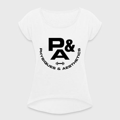 CAMISETA AJUSTADA P&A BLANCO - Camiseta con manga enrollada mujer