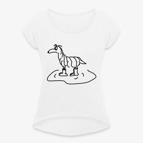 Regenhund - Frauen T-Shirt mit gerollten Ärmeln