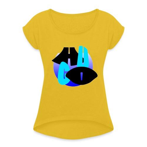 Hugo's logo transparant - Vrouwen T-shirt met opgerolde mouwen