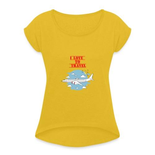 I Love To Travel - Maglietta da donna con risvolti