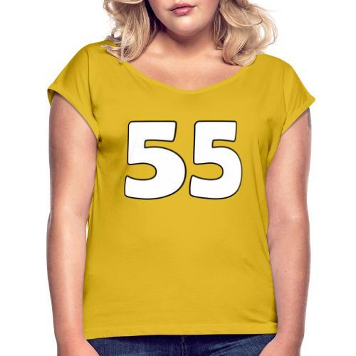 55 - Naisten T-paita, jossa rullatut hihat