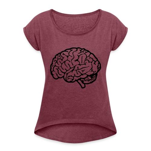 cerveau - T-shirt à manches retroussées Femme