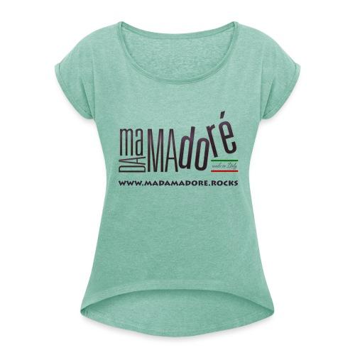 T-Shirt Premium - Donna - Logo Standard + Sito - Maglietta da donna con risvolti