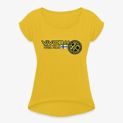 ViVoBJJ Patch White - Naisten T-paita, jossa rullatut hihat