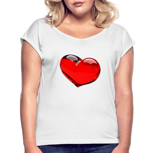 serce 3D - Koszulka damska z lekko podwiniętymi rękawami