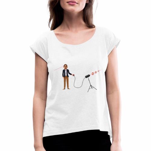 Stupid GeekContestWinner - Frauen T-Shirt mit gerollten Ärmeln