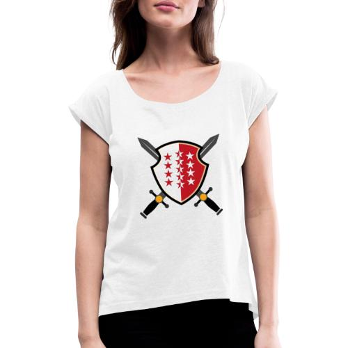 Valais avec épées - Frauen T-Shirt mit gerollten Ärmeln