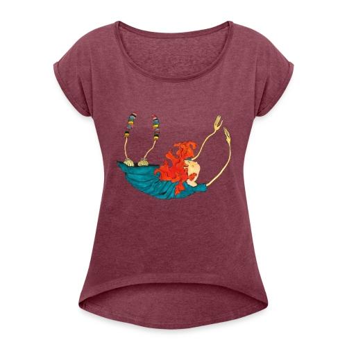 Frit fald - Dame T-shirt med rulleærmer