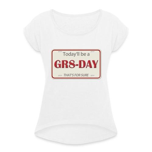 gr8-day - Camiseta con manga enrollada mujer