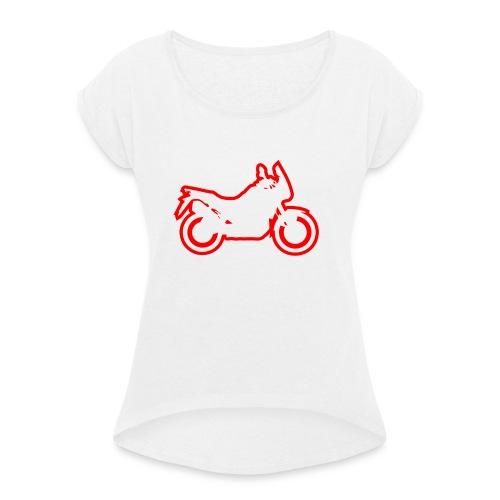 at symbolik rot - Frauen T-Shirt mit gerollten Ärmeln