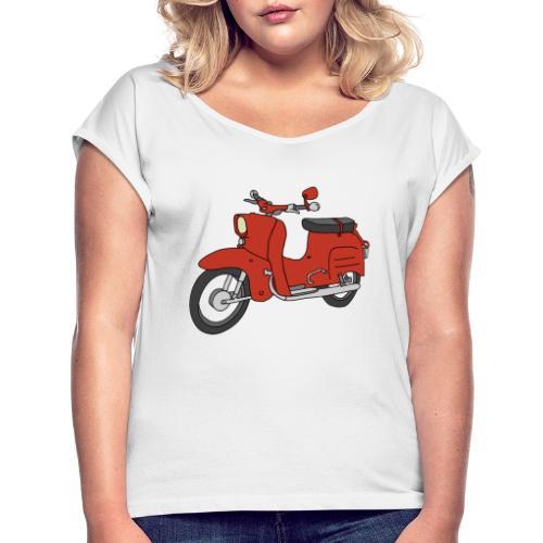 Schwalbe (ibizarot) - Frauen T-Shirt mit gerollten Ärmeln