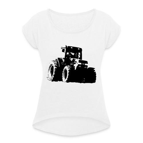 7100 - T-shirt med upprullade ärmar dam
