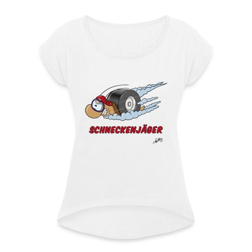 Schneckenjäger - Frauen T-Shirt mit gerollten Ärmeln