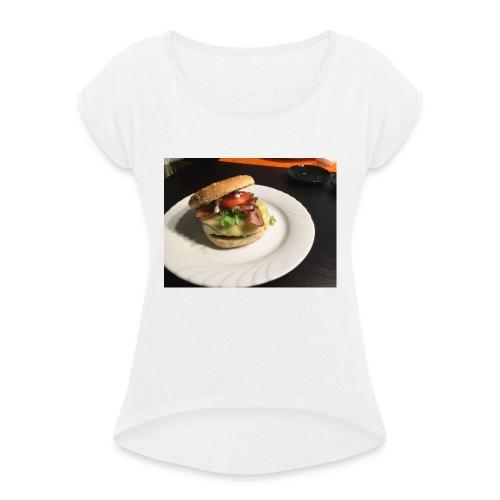 Burger - Frauen T-Shirt mit gerollten Ärmeln