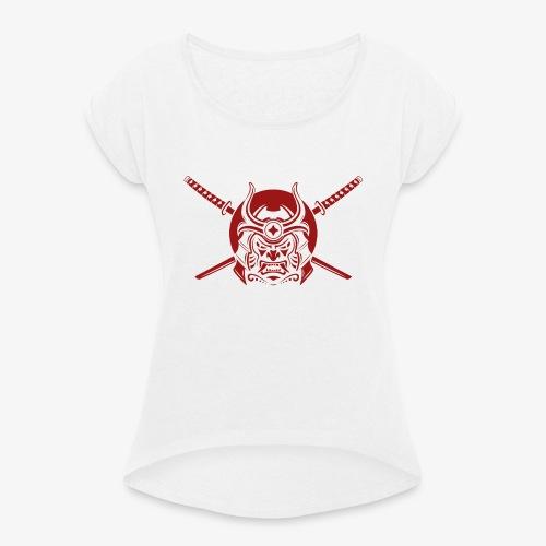 Samurai Warrior - Frauen T-Shirt mit gerollten Ärmeln
