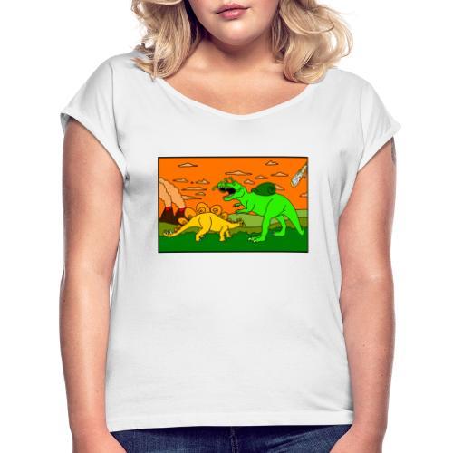 Schneckosaurier von dodocomics - Frauen T-Shirt mit gerollten Ärmeln