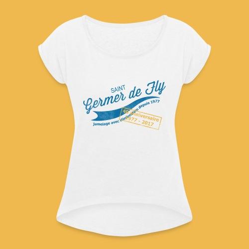 40 Jahre Städtepartnerschaft - Frauen T-Shirt mit gerollten Ärmeln