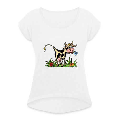 Kuh Hemme 2 copy - Frauen T-Shirt mit gerollten Ärmeln