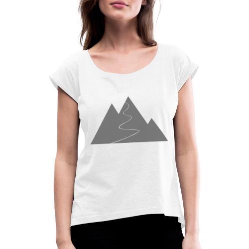 T-Shirt Berge - Frauen T-Shirt mit gerollten Ärmeln