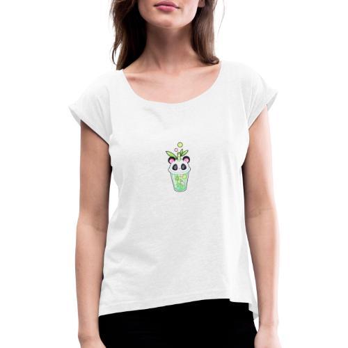 Panda Bacher - Frauen T-Shirt mit gerollten Ärmeln