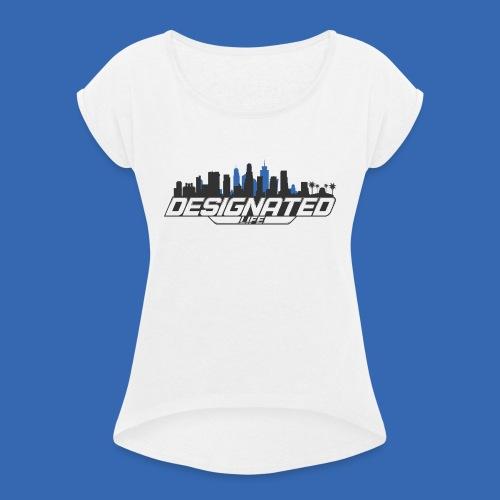 Designated Black - Frauen T-Shirt mit gerollten Ärmeln