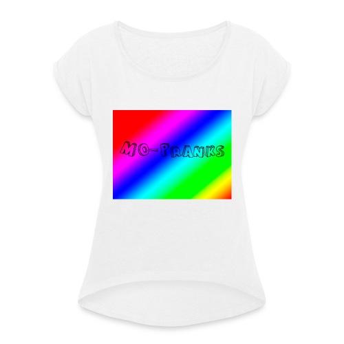 MO-Pranks rainbow - T-skjorte med rulleermer for kvinner