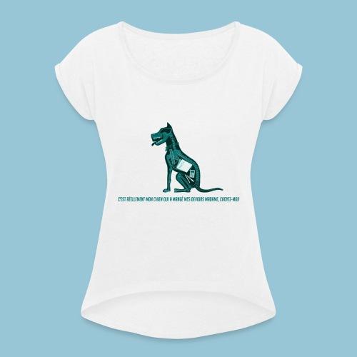 T-shirt femme imprimé Chien au Rayon-X - T-shirt à manches retroussées Femme