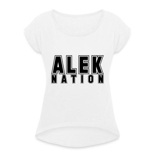 ALEKNATION T-SKJORTE - T-skjorte med rulleermer for kvinner