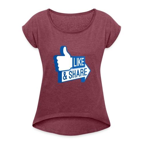 Like & Share (Facebook) - Maglietta da donna con risvolti