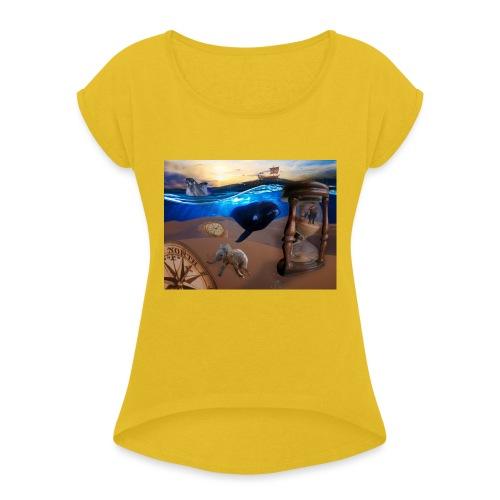 Wodne Przemyślenia - Koszulka damska z lekko podwiniętymi rękawami
