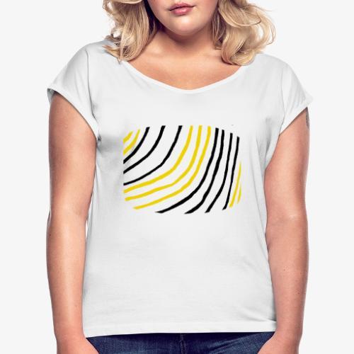 Raidat - Naisten T-paita, jossa rullatut hihat