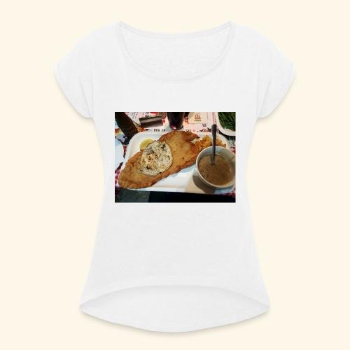 Schnitzel Motiv - Frauen T-Shirt mit gerollten Ärmeln