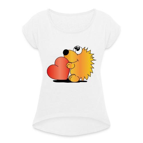 Igelchen - Frauen T-Shirt mit gerollten Ärmeln