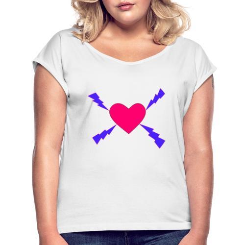 Salamasydän - Naisten T-paita, jossa rullatut hihat