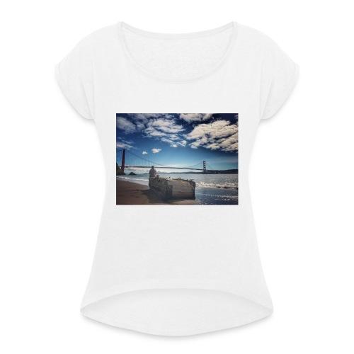 poncio - Camiseta con manga enrollada mujer