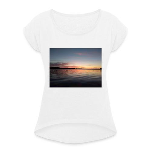 Sunset - T-shirt med upprullade ärmar dam