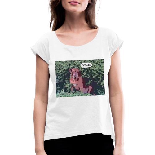 comica1566146737190 - Frauen T-Shirt mit gerollten Ärmeln